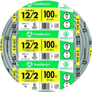 Southwire 100 Ft Electrical Wire Pvc 12 2 Gray Solid Cu Uf b W g Underground
