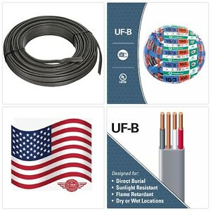 Underground Wire Electrical Cable 100 Ft 10 3 Gauge Copper Gray Outdoor Lighting