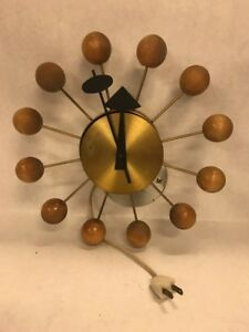 Howard Miller George Nelson Mid Century Vintage Wood Brass Ball Clock Eames