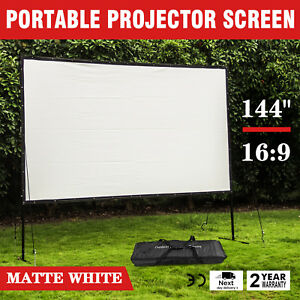 New 144 16 9 Motorized Electric Auto Projector Projection Screen Remote Control