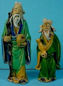 Two Antique Chinese Shiwan Stoneware Standing Mudman W Staff Scroll Figurines