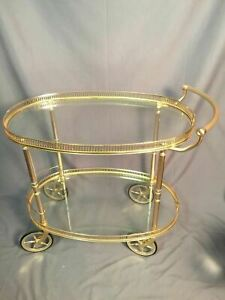 Brass Glass Vintage Tea Cart Mid Century Modern Drink Serving Hollywood Regency