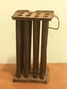 Antique Primitive 12 Tube Tin Candle Mold With Handle