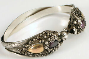 Antique Chinese Sterling Silver Amethyst Gold Dual Dragon Bracelet Fine Detail