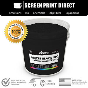 Ecotex Gloss Black Np Premium Plastisol Ink For Screen Printing Gallon 128oz