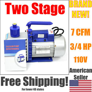 7 Cfm Two Stage Vacuum Pump 3 4 Hp Rotary Vane Deep 110v 60hz Hvac Ac Tool