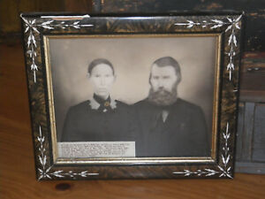 1800 Couple Eastlake Victorian Frame Photograph Husband Wife Scotland Antique