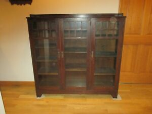 Antique Oak Arts Crafts Mission Bookcase 3 Door Lifetime Furniture Co