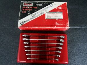 Vintage 7pc Snap on Sae Combination Wrench Set Osh Flank Drive Made In Usa