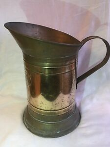 Vintage Antique Brass Copper 5 Kan Fire Extinguisher Bucket Coal Scuttle Planter