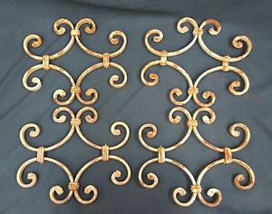 Architectural Salvage Wrought Iron Fence Gate Sections Double Scrolls Set Of 4