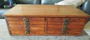 Antique Oak Flat File 6 Drawers Architect Artist Collector
