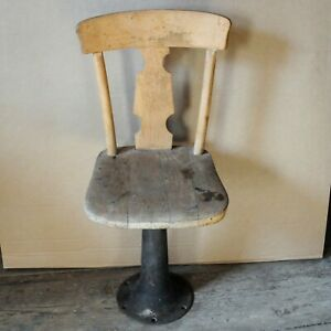 Vintage Antique Child Desk Chair With Wood Seat Cast Iron Stand