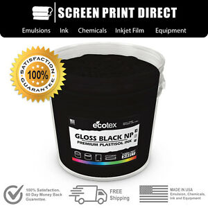 Ecotex Gloss Black Np Premium Plastisol Ink For Screen Printing 5 Gallon