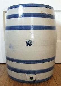 Large Antique 10 Gallon Stoneware Water Cooler Blue Stripes Crock 32 Lbs
