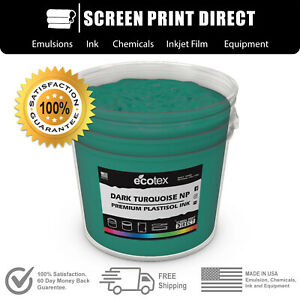 Ecotex Dark Turquoise Premium Plastisol Ink For Screen Printing 5 Gallon