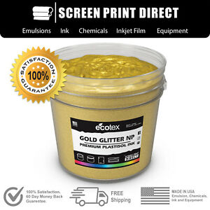 Ecotex Gold Glitter Premium Plastisol Ink For Screen Printing 5 Gallon