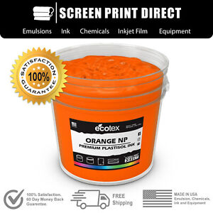 Ecotex Orange Premium Plastisol Ink For Screen Printing 5 Gallon