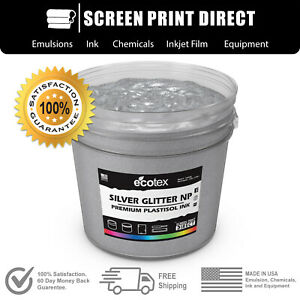 Ecotex Silver Glitter Premium Plastisol Ink For Screen Printing 5 Gallon