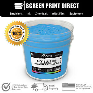 Ecotex Sky Blue Premium Plastisol Ink For Screen Printing 5 Gallon