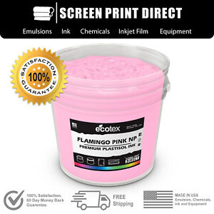 Ecotex Flamingo Pink Premium Plastisol Ink For Screen Printing 5 Gallon