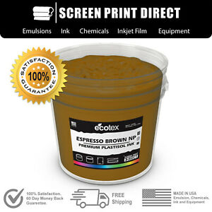 Ecotex Espresso Brown Np Premium Plastisol Ink For Screen Printing 5gallon
