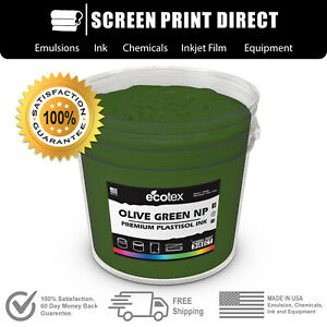 Ecotex Olive Green Np Premium Plastisol Ink For Screen Printing 5 Gallon