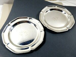 Vtg Set Of 2 Wm Rogers 988 Silver Plated Dish Plate Wine Coasters