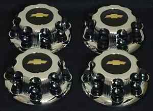 8 Lugs New Chevy Black Express Van 2500 3500 Chrome Replacement Center Hub Caps
