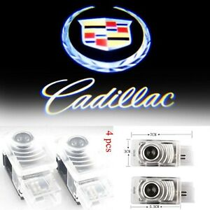4x Cree Led Door Step Courtesy Light Laser Shadow Lamp For Cadillac Srx Ct6 Xt5