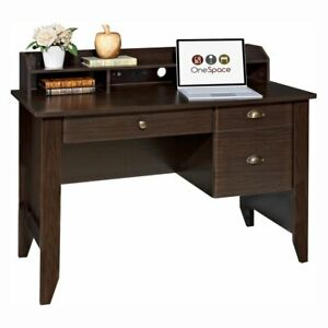 Onespace Executive Desk With Hutch Wood Grain Espresso
