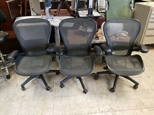 3 Herman Miller Aeron Office Chair Size C With Lumbar Support