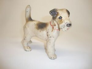 Antique Original Hubley Solid Cast Iron Fox Terrier Dog Bookend Doorstop Small