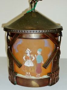 Antique Arts Crafts Bronzed Metal Windmill Dutch Decorated Hand Ptd Lamp Shade