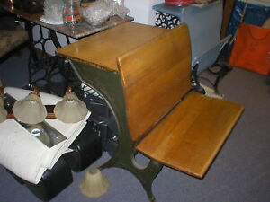 Elgin Illinois History Antique Wood And Metal School Desk From St Mary S Cat
