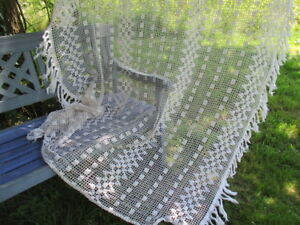 Antique Vintage French Lace Bed Cover Hand Crocheted Fringed 66 X 77