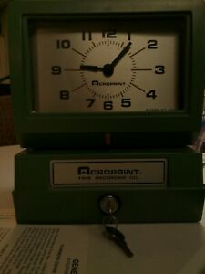 Acroprint Time Clock Recorder Model 150nr4 With Key Instructions