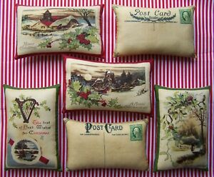 6 Primitive Christmas Postcard Ornies Tucks Bowl Fillers Country Scenery