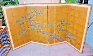 Antique Signed Japanese Hand Painted 4 Panel Folding Screen Pine Tree