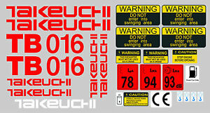 Takeuchi Tb016 Mini Digger Complete Decal Sticker Set With Safety Warning Signs