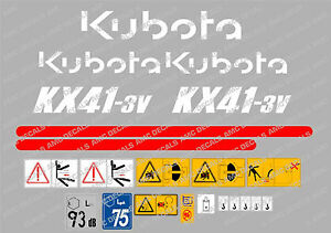 Kubota Kx41 3v Mini Digger Complete Decal Set With Safety Warning Signs