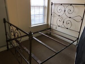 Antique Full Size Iron Bed Ornate Footboard Headboard Complete W Rails Slats