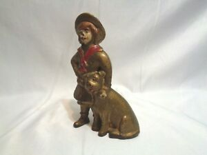 Old Ac Williams Cast Iron Buster Brown Tige Coin Still Bank Original