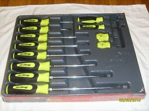Reduced Brand New Snap On Hi Vis 12 Piece Soft Grip Screwdriver Set Sgdx120bhv