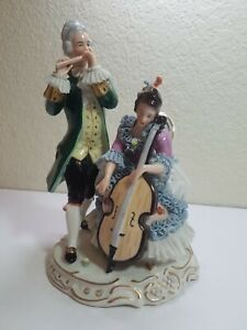 German Dresden Lace Porcelain Woman Man Playing Music Volkstedt Figurine Damage
