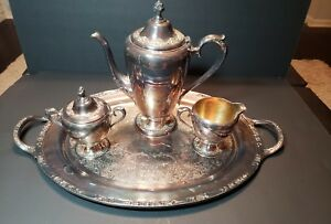 Rogers Bros Silver Plate Coffee Tea Serving Set W Tray Tarnished