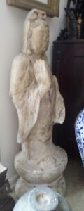 Large Antique Chinese Asian Marble Bodhisattva Kwan Yin Statue Sculpture