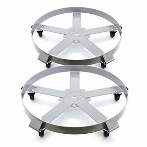 Heavy Duty 5 Wheel Drum Dolly W 1250lb Capacity For 55 Gallon Containers 2ct