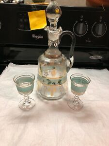 Vintage Victorian Hand Painted Decanter W 2 Glasses