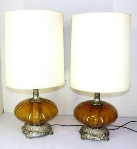 Vintage Pair Of Amber Glass Brass Table Lamps 1970s Ef Ef Industries Mcm